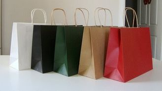 Decorative Colored Paper Gift Bags With Handles , Recycled Paper Shopping Bags
