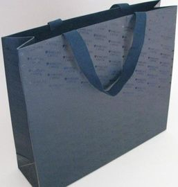 Fashion Black Paper Bags With Handles , Company Logo Promotional Gift Bags